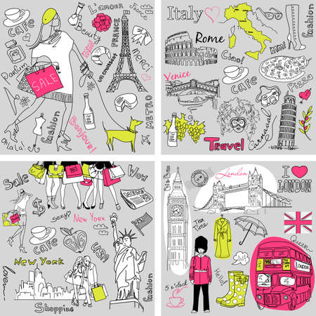 Italy, England, France, USA - four wonderful collections of hand drawn doodles