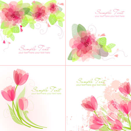 Illustration pour Set of 4 Romantic Flower Backgrounds in pink and white colours. Ideal for Wedding invitation, birthday card or mother's day card - image libre de droit