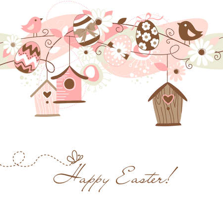Illustration for Beautiful Spring backgroun with bird houses, birds, eggs and flowers - Royalty Free Image
