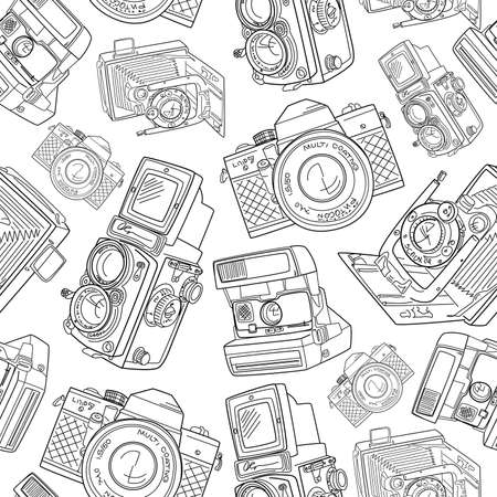 Seamless hand drawn old camera pattern, black and white