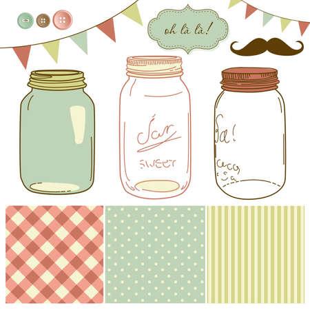 Foto de Glass Jars, frames and cute seamless backgrounds. Ideal for wedding invitations. - Imagen libre de derechos