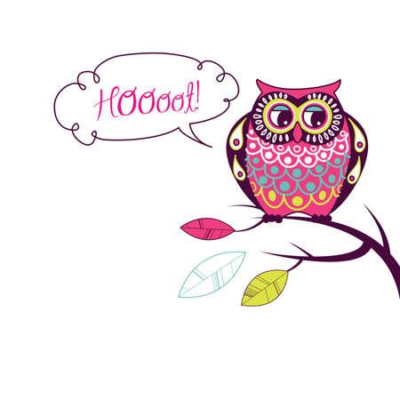 Cute Vector Owl. Hoooot card