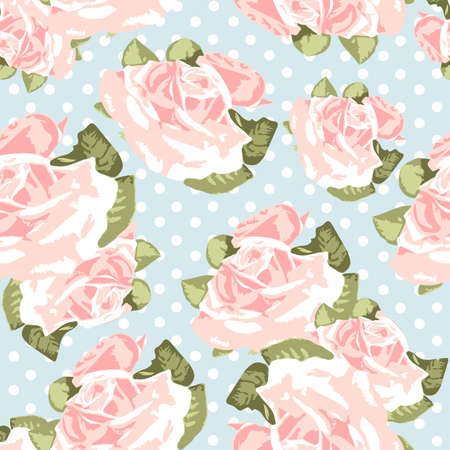 Beautiful Seamless rose pattern with blue polka dot background vector illustration