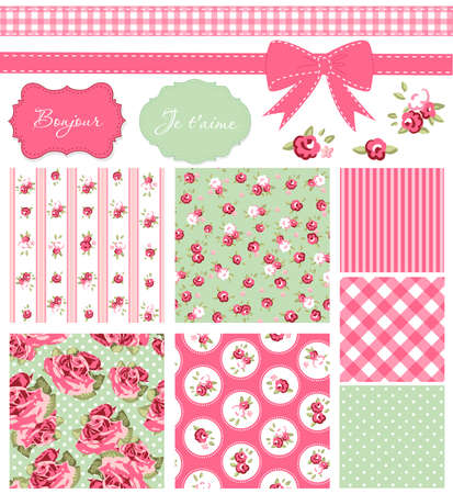 Foto de Vintage Rose Pattern, frames and cute seamless backgrounds. Ideal for printing onto fabric and paper or scrap booking.  - Imagen libre de derechos