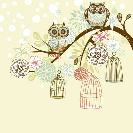 Owl winter floral background. Owls out of their cages concept vector のイラスト素材