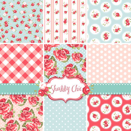 Foto de Shabby Chic Rose Patterns and seamless backgrounds. Ideal for printing onto fabric and paper or scrap booking.  - Imagen libre de derechos