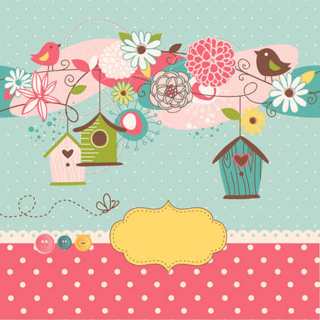 Illustration pour Beautiful Spring background with bird houses, birds and flowers  - image libre de droit
