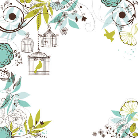 Floral summer background. Birds out of their cages concept