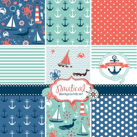 A set of 9 nautical backgrounds, blue, red and white seamless patterns