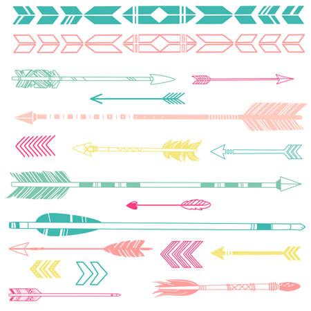 Ilustración de A set of cute hipster arrows, hand drawn doodles - Imagen libre de derechos
