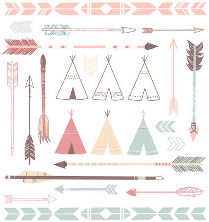 Illustration pour Teepee Tents and arrows collection - hipster style  - image libre de droit