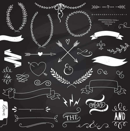 Illustration pour Wedding graphic set, arrows, hearts, laurel, wreaths, ribbons and labels.  - image libre de droit
