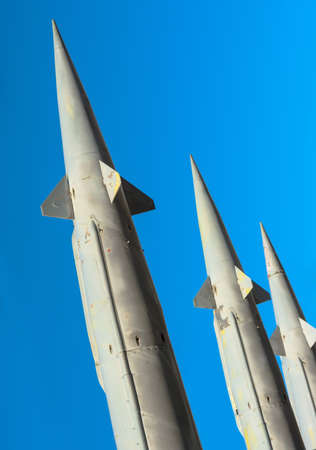 Antiaircraft rockets of a surface-to-air missile system are aimed at the sky, closeup