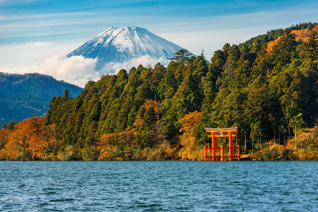 Photo for beautiful autumn scene of mountain Fuji, Lake Ashinoko and red Torii gate, Hakone, Japan - Royalty Free Image