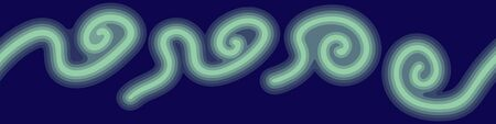 Horizontal seamless banner with abstract squiggles on dark blue background. Vector illustration.