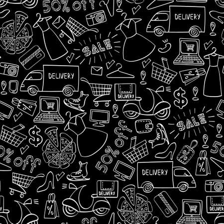 Illustration pour Online shopping seamless pattern. White hand drawn e-commerce objects isolated on black background. Vector illustration. - image libre de droit