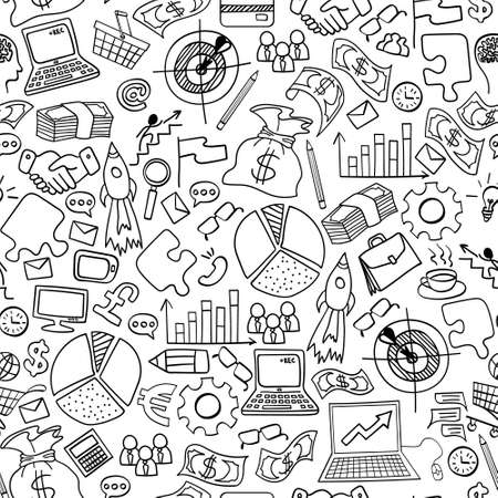 Illustration for Business doodles seamless pattern. Hand drawn symbols on white background. Vector illustration. - Royalty Free Image