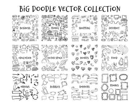 Illustration pour Big doodle collection. Hand drawn outline elements isolated on white background. Vector illustration. - image libre de droit