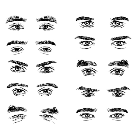 Illustration pour Vector part of the male person s eyes and eyebrows. - image libre de droit
