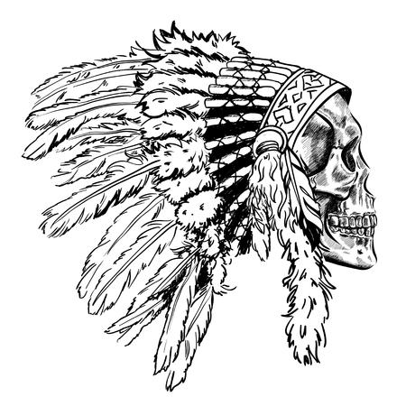 Illustration pour Dotwork style skull with indian feather hat. Grunge vector art - image libre de droit