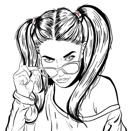 Illustration pour Beautiful young woman. Fashion lady in sunglasses. Stylish woman portrait. Sketch. Vector illustration - image libre de droit