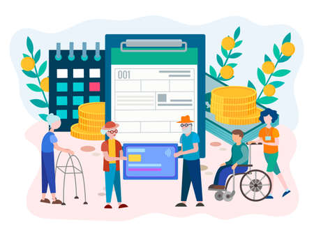 Ilustración de Social Security Benefits Form filling for pensioners and disabled person. Social Security Disability Claim Concept. Vector illustration. - Imagen libre de derechos