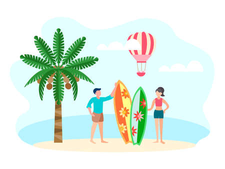 Young couple of vacationing surfers on the beach on the ocean coast, coconut palm and pink balloon on the background. Vector illustration of the travel concept.