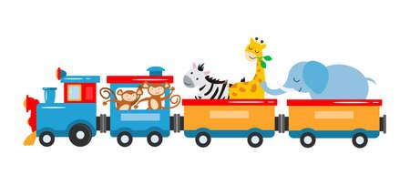 Illustration pour The concept vector illustration is entertainment, travel, circus show. A kids train with animals, elephant, giraffe, zebra, lions, panda, lemur travel by train. Vector illustration - image libre de droit