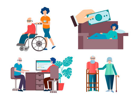 Illustration pour Help and support for sick, disabled, low-income people vector illustration - image libre de droit