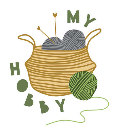 Illustration pour Print knitting. Text My hobby. Collection Elements: wool, thread, basket, text. Hobbies, trendy home decor. Vector illustration. - image libre de droit