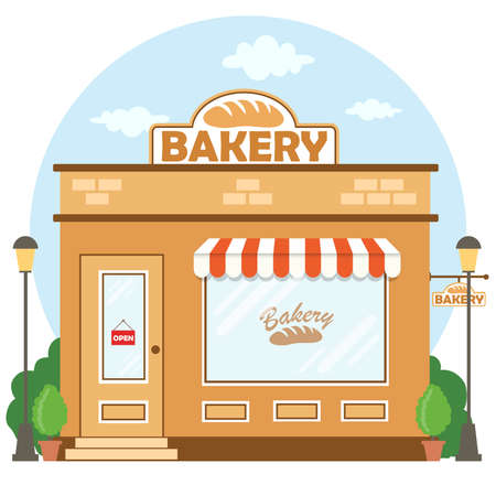 Illustration pour Bakery shop building facade with signboard. Flat style. Vector illustration - image libre de droit