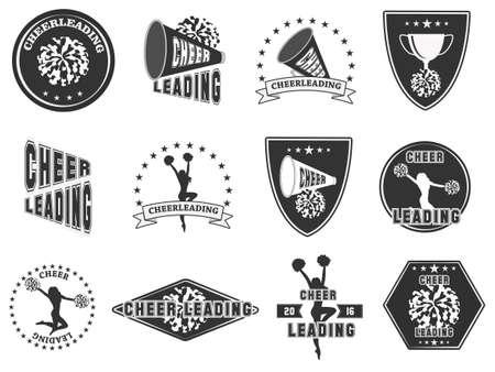 Illustration pour Set of labels, logos for cheerleading. Vector illustration - image libre de droit