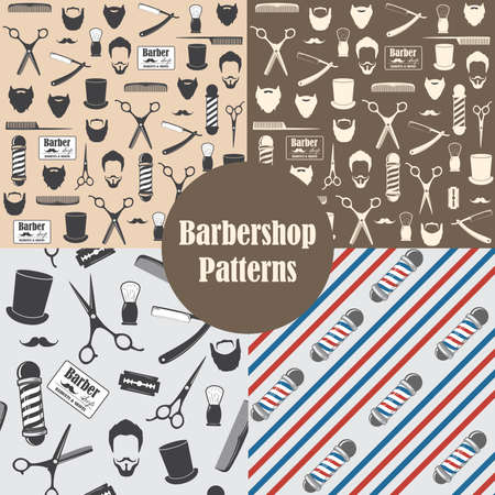 Barber Shop Vintage Seamless Pattern Decorative Wallpaper