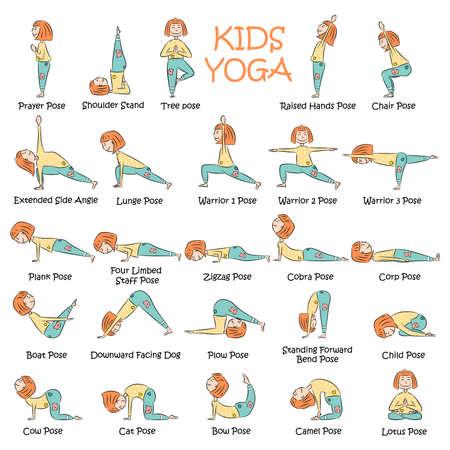 Yoga Kids Set Gymnastics For Children And Healthy Lifestyle Vector Illustration Tasmeemme Com
