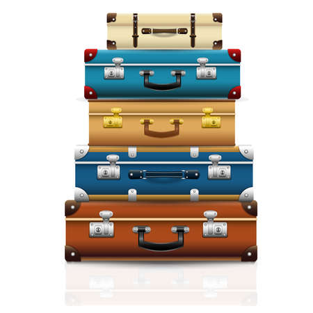 Illustration pour Set of closed old retro vintage suitcases. Set of 3d travel bag realistic icons. Vector illustration - image libre de droit