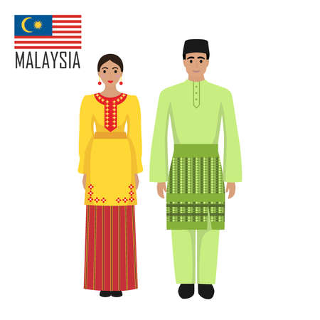 Illustration pour Malasian young man and woman in national costume - image libre de droit