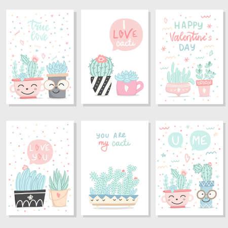 Ilustración de Set of cute hand drawn gift romantic postcards with succulents and cactuses. Collection of Valentine's Day card, invitation, poster. Vector illustration. - Imagen libre de derechos