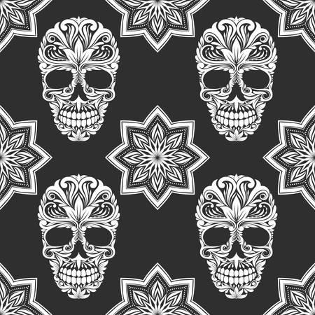 Illustration for Black and Gray Flower Skull Pattern - Royalty Free Image