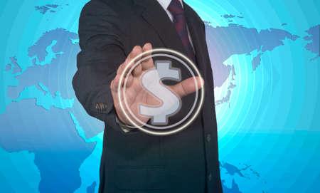 touch dollar businessman concept