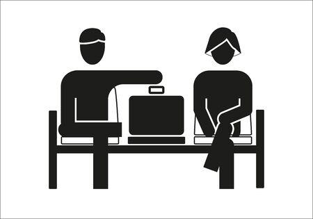 Illustration pour Waiting area icon with figures of man and woman - image libre de droit