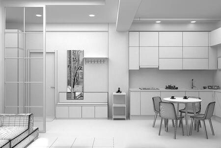 Photo pour Interior design of a hallway in compact apartment grid 3D render - image libre de droit