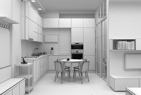 Photo pour Interior design of a kitchen in compact apartment grid 3D render - image libre de droit