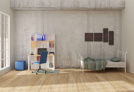 Photo pour Home office interior 3D render - image libre de droit