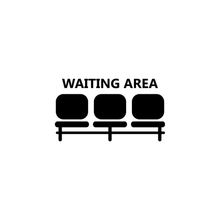 Ilustración de Airport seat place, waiting area icon illustration on white background. - Imagen libre de derechos