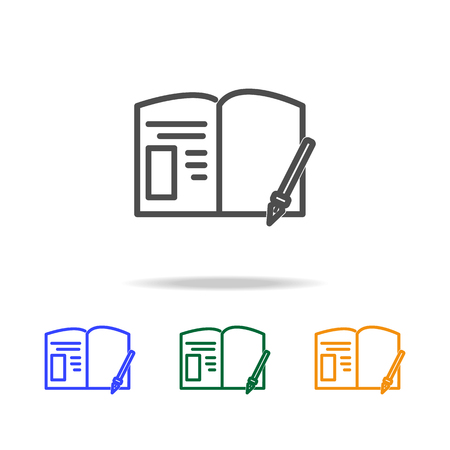 Paper with a pen icons. Element of education for mobile concept and web apps. Thin line icon for website design and development, app development. Premium multi-color icons on white background.