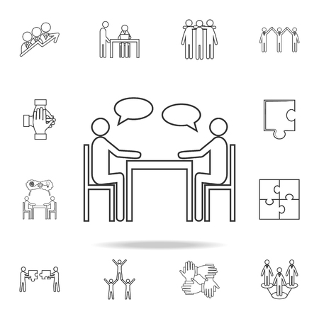 People sitting around the table talking line icon  Detailed