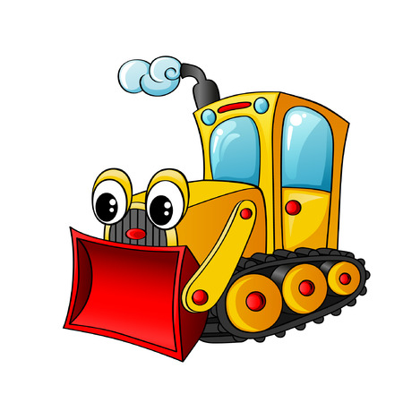 Funny cartoon bulldozer
