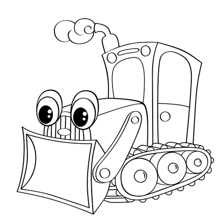 Funny cartoon bulldozer. Black and white vector illustration for coloring book