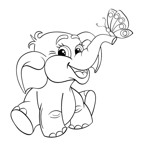 Illustration pour Funny cartoon baby elephant with butterfly. Black and white vector illustration for coloring book - image libre de droit