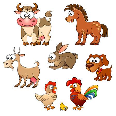Illustration pour Set of cute cartoon farm animals. Horse, cow, goat, rabbit, dog, hen, cock and chick - image libre de droit